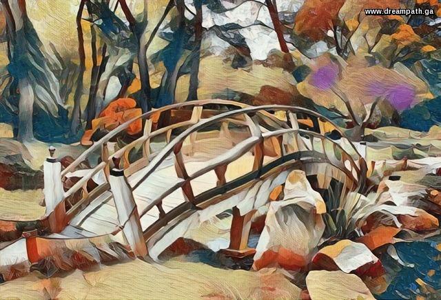Bridge in mysterious garden