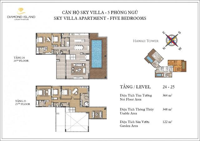 căn hộ sky villa 5 phòng ngủ dự án căn hộ Đảo Kim Cương