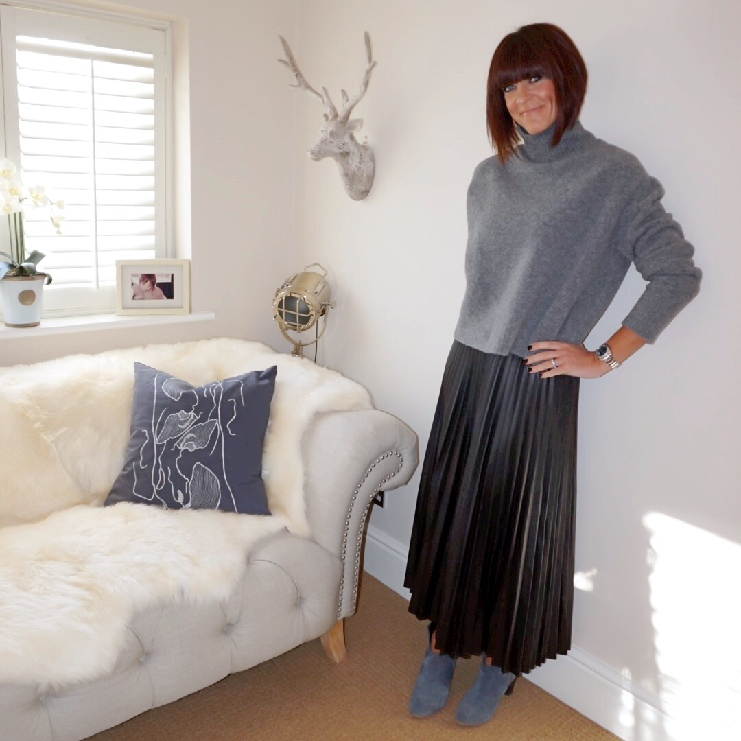my midlife fashion, zara cropped turtle neck jumper, marks and spencer pleated midi skirt, hush thornton ankle boots
