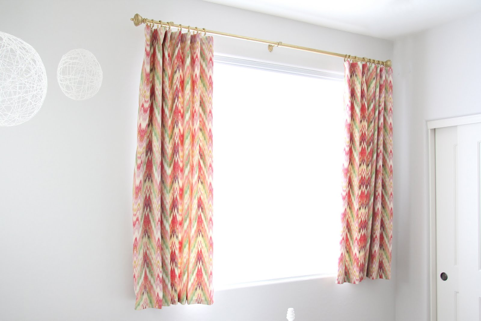 Natty by design short curtains and a pin hook tutorial - Long or short curtains in living room ...