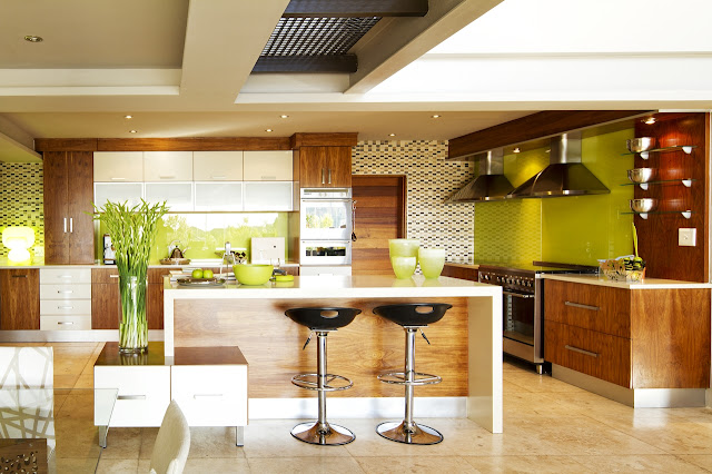Modern wooden kitchen of the modern villa