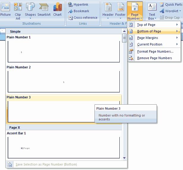 Cara Membuat Nomor Halaman (Otomatis) Pada Microsoft Word 2007