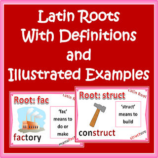 Latin Roots - Illustrated Definitions and Examples for CCSS L.4.4b, L.5.4b