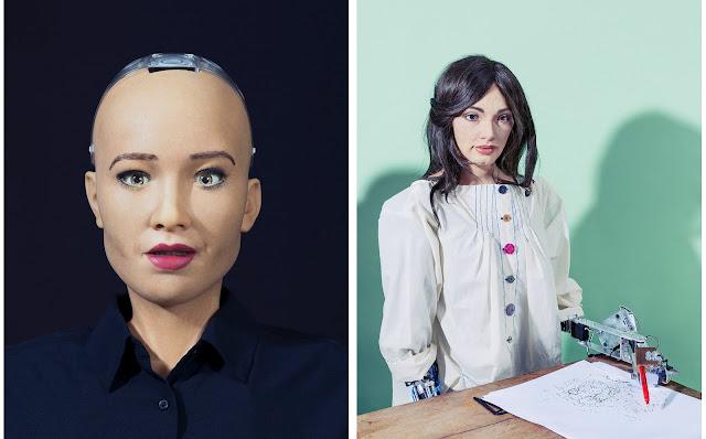 Слева: Робот София является послом роботов и инноваций в Организации Объединенных Наций. Справа: Ай-Да - ультра-реалистичный гуманоидный робот-художник. Как машина с возможностями искусственного интеллекта, ее личность художника - произведение искусства.