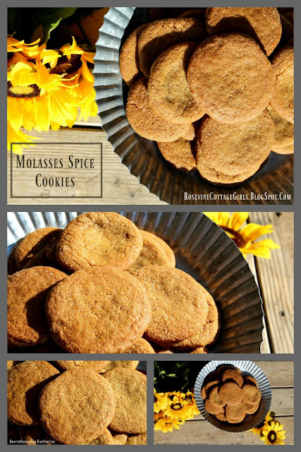 Molasses Cookies Recipe, Molasses Cookies, Molasses Spice Cookies, by Rosevine Cottage GirlsFall cookie recipe