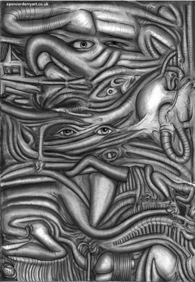 Original Hand-drawn original gigeresque, nightmare, sci-fi artwork on A3: 29.7cm x 42 cm paper (not framed) Created with the media of Pastel, pencil and ink pen. Work of Art by British Surrealist Artist Spencer J. Derry in 2012.