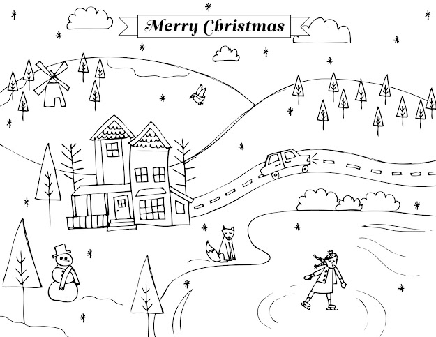 Coloring Page Nature Scene Landscape  Coloring Pages