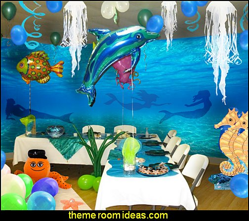 mermaid table decor - party props  under the sea birthday party - under the sea theme party table