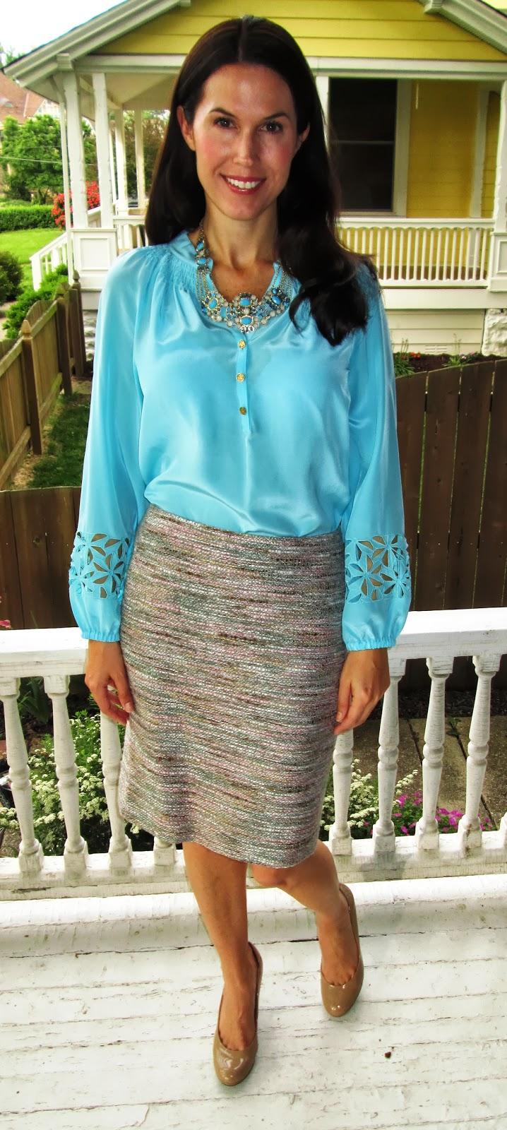 0cd9ca52c7b75 Colorful Corporate  Lilly Pulitzer s silk Elsa top + tweed