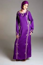 Model baju dress muslim modern warna ungu