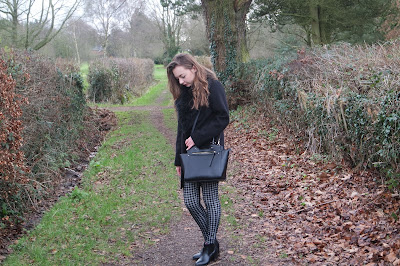 Monochrome winter outfit, with patterned check trousers fur collared coat and chelsea boots