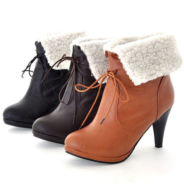 Girls Lovely Boots Shoes Faux Leather Faux Wool Lining