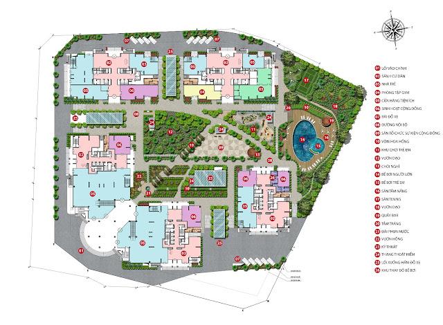 Mặt bằng phân khu tiện ích dự án Iris Garden Mỹ Đình