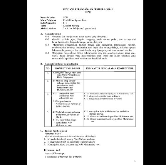 RPP PAI Kelas 1 2 3 4 5 6 SD MI Kurikulum 2013