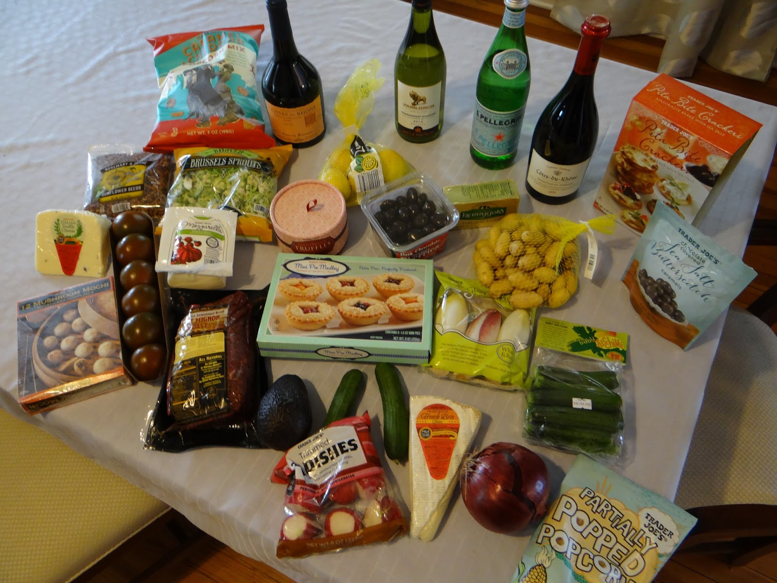 This Is The Table Full Of Ingredients Before Trader JOes Dinner Party In April