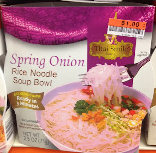 Thai Smile Spring Onion Rice Noodle Soup Bowl in packaging, from Big Lots