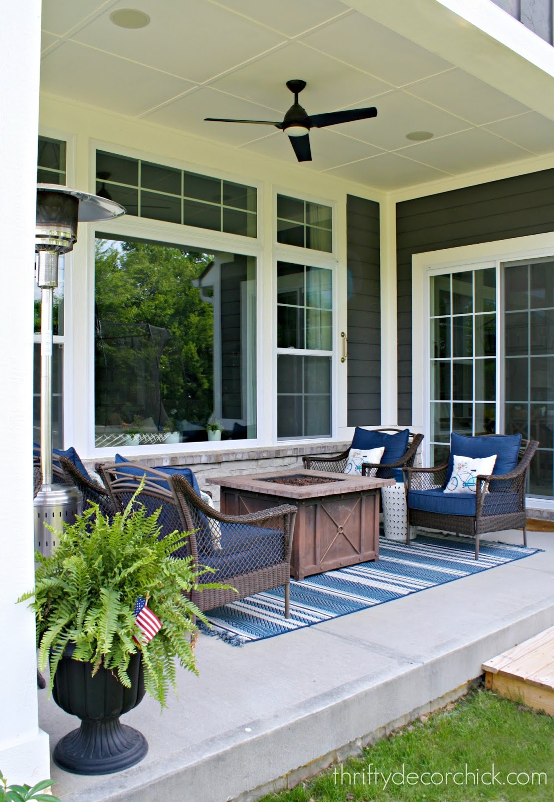 covered patio blue white decor