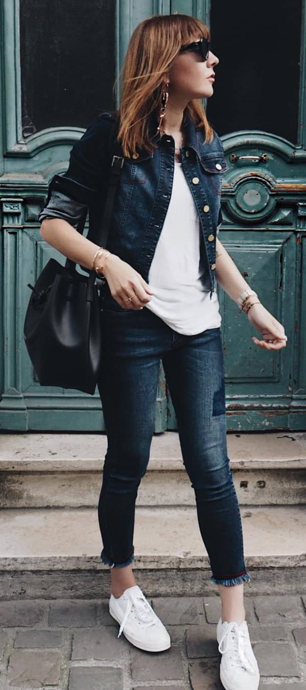 casual style addict : denim jacket + top + rips + bag