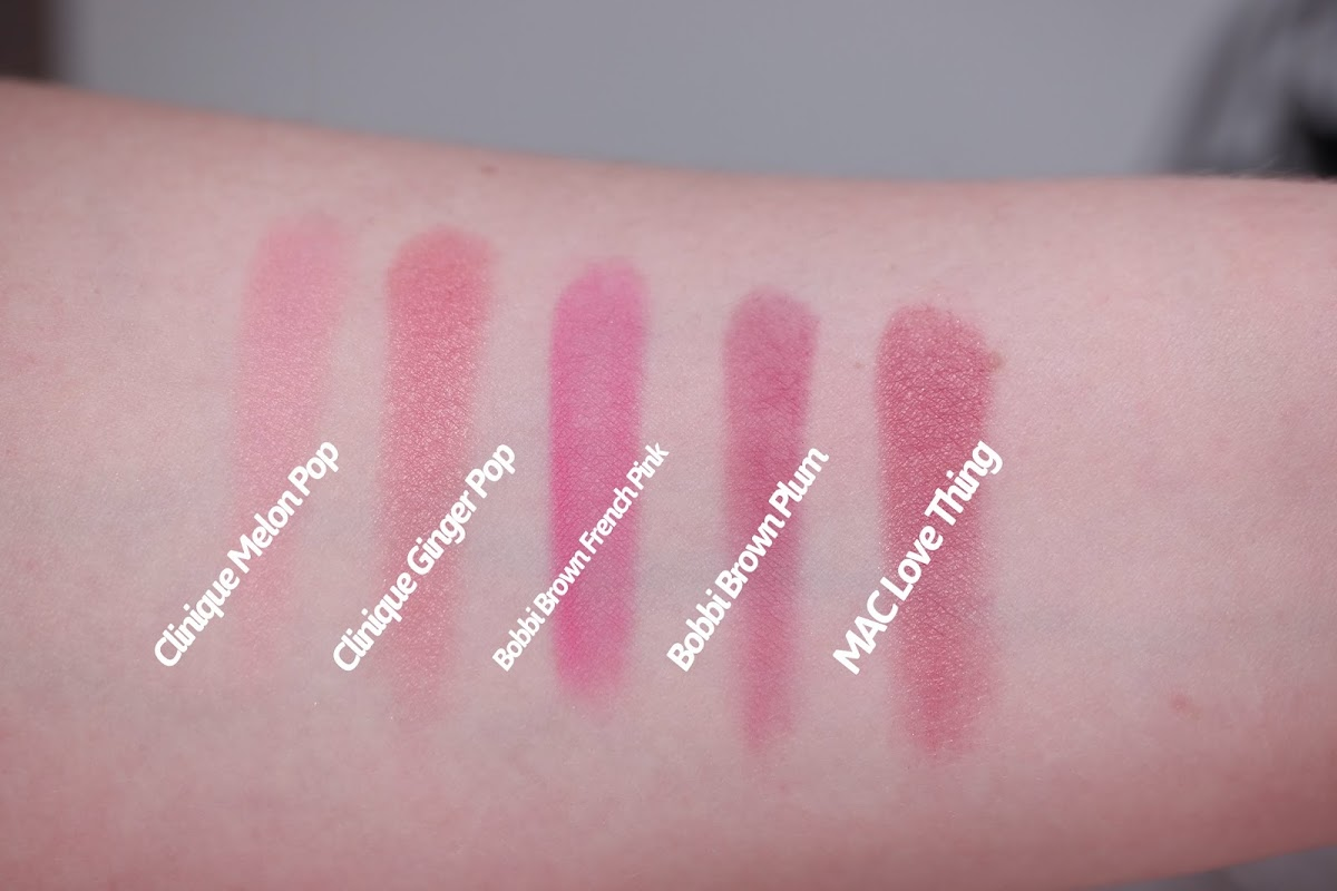 Swatches Clinique Melon Pop Ginger Pop Bobbi Brown French Pink Plum Mac Love Thing