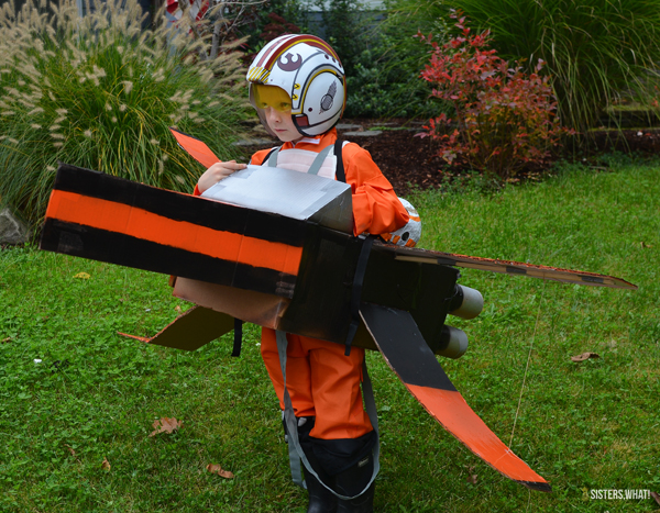 Star Wars X-Wing Fighter Costume out of cardboard box