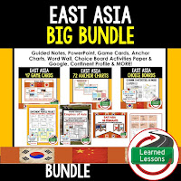 World Geography East Asia Bundle, Anchor Charts, Games, Guided Notes, Digital Choice Boards, Google Classroom, Word Walls