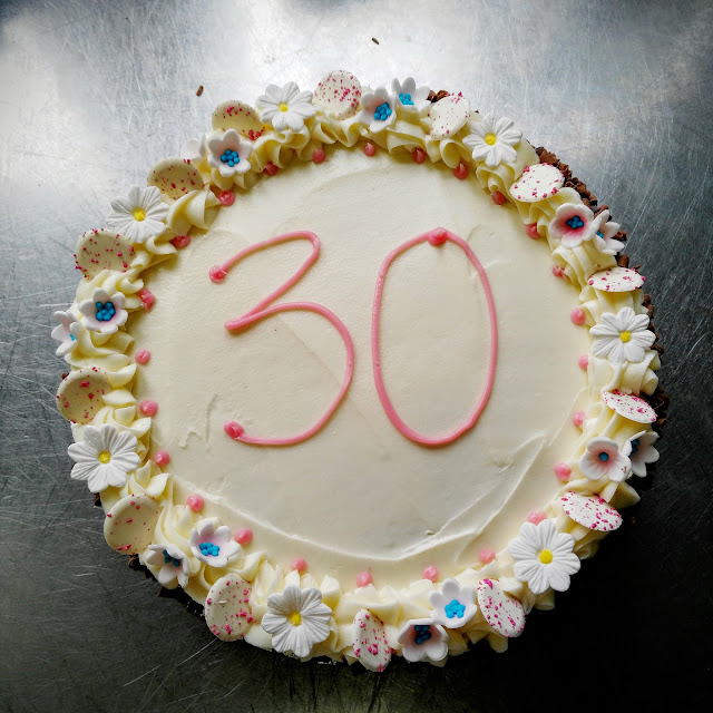 birthday cake with 30 written on top