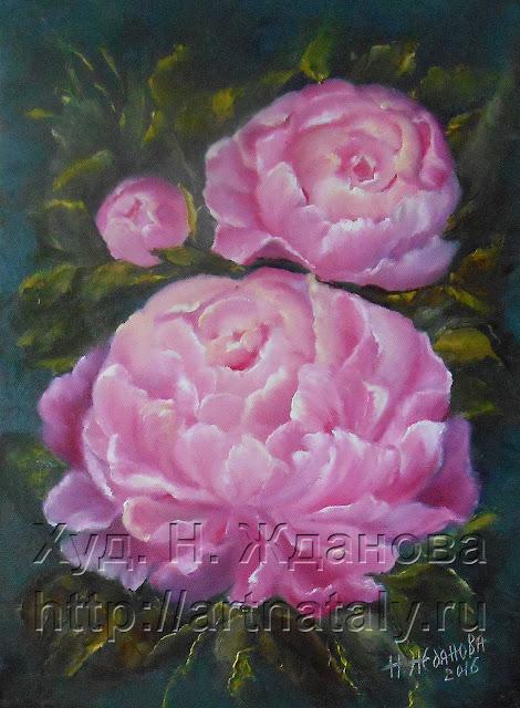 Цветы Пионы. Картина цветов маслом на холсте