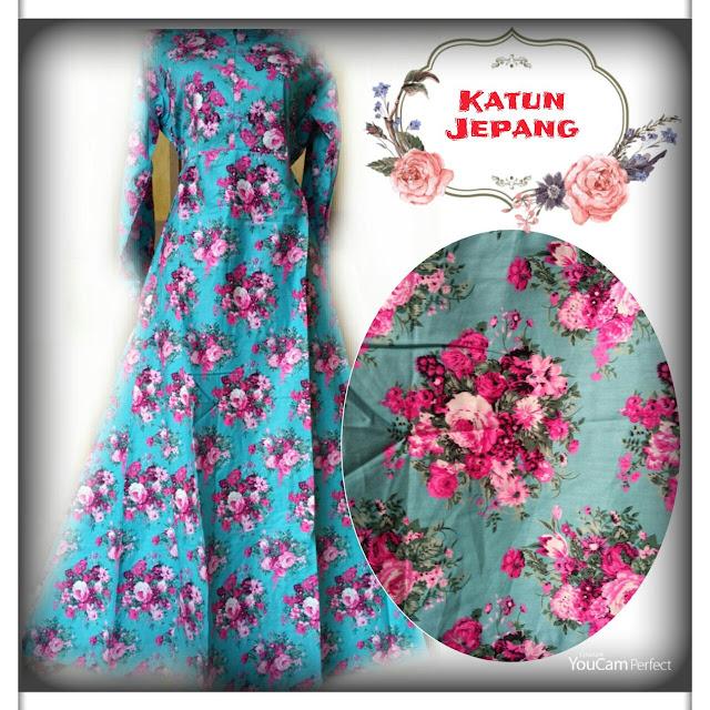 gamis katun jepang motif bunga warna cantik