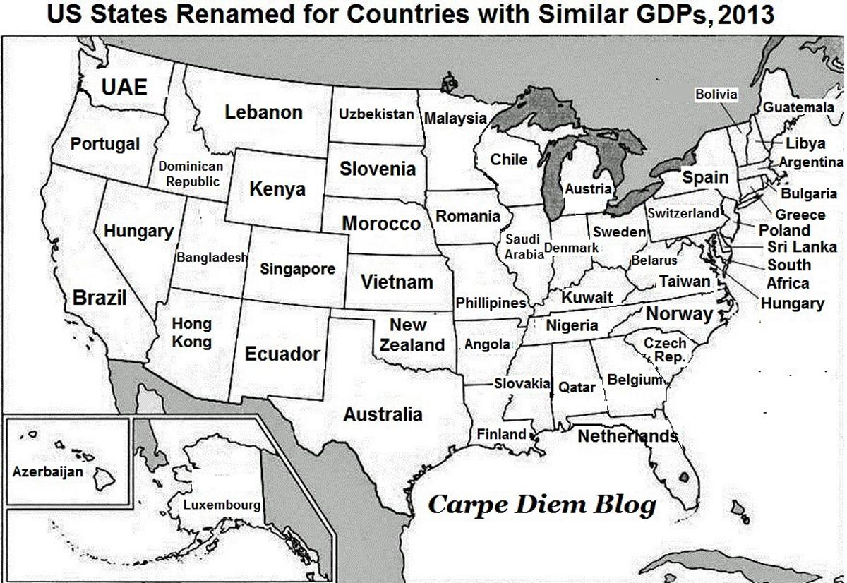 Economia Nova Os Estados Dos Estados Unidos Em Termos Do