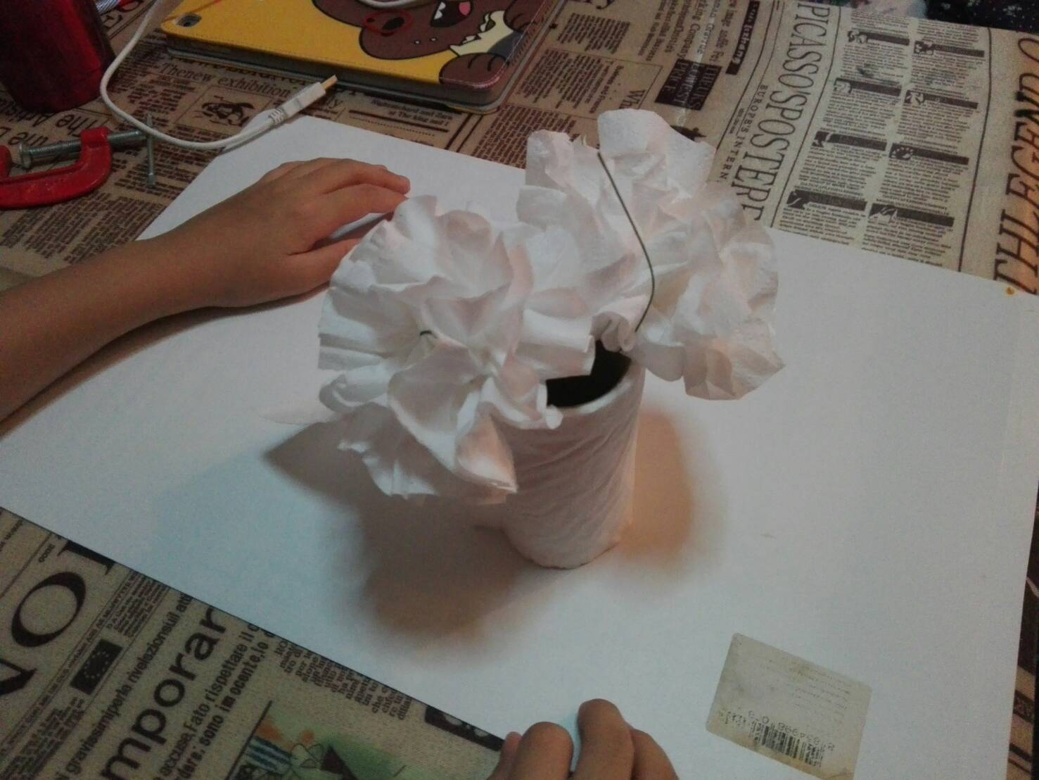 Making A Carnation Flower From Tissue Paper