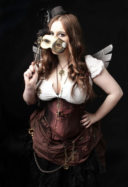 steampunk costume cosplay corset mask wings top hat fascinator