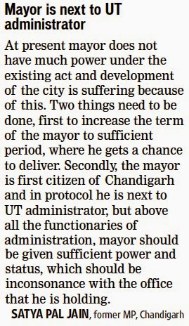 Mayor is next to UT Administrator - Satya Pal Jain, former MP, Chandigarh