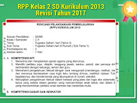 RPP Kelas 2 SD Kurikulum 2013 Revisi Tahun 2017