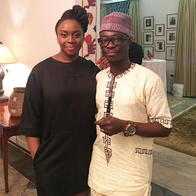 Julius Agwu meets novelist – Chimamanda Adichie at a cocktail party in Lagos