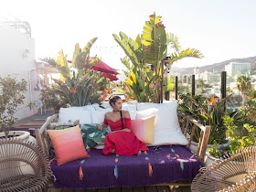 red dress, mama shelter LA, roofop bars in LA, Mama Shelter rooftop bar LA, tropical oasis, best place to shoot in Los Angeles, what to wear to a rooftop bar, Asos off the shoulder red dress