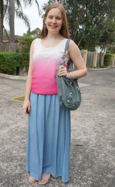ombre pink embellished tank with chambray maxi skirt and balenciaga day bag | SAHM Style away from blue