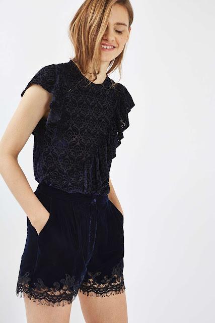 black velvet lace shorts, lace trim velvet shorts, topshop velvet shorts,
