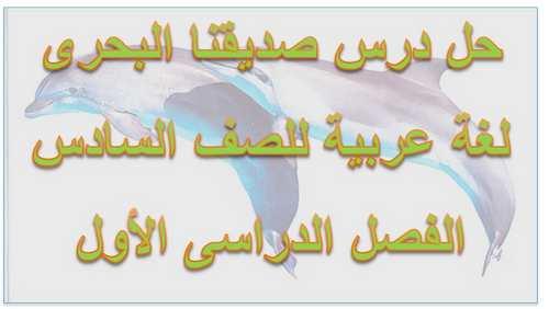 حل درس صديقنا البحرى مادة اللغة العربية للصف السادس الفصل الدراسى الثانى2020/2019