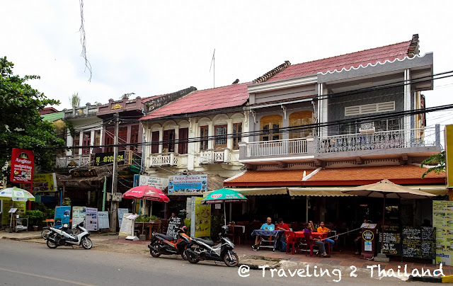 Colonial style shophouses at the riverside of Kampot, Cambodia