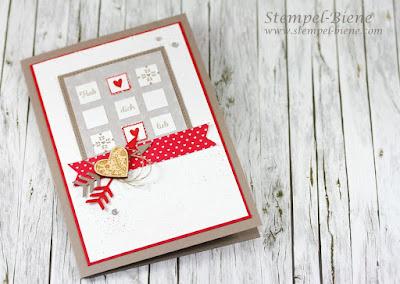 Valentinstagskarte; Stampinup; Mit Gruß und Kuss; Stampinup Frühjahrskatalog 2017; Prägeform Herzen; Stempel-Biene