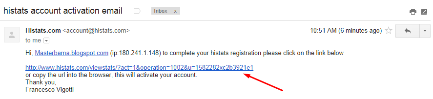 Opening histats email confirmation