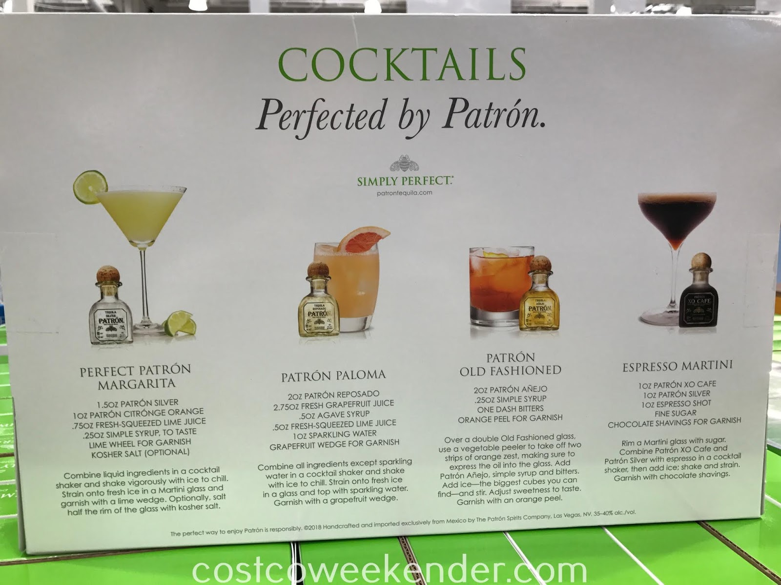 Costco 1196518 - Patron Tequila Limited Edition Gift Pack features 4 flavors of tequila
