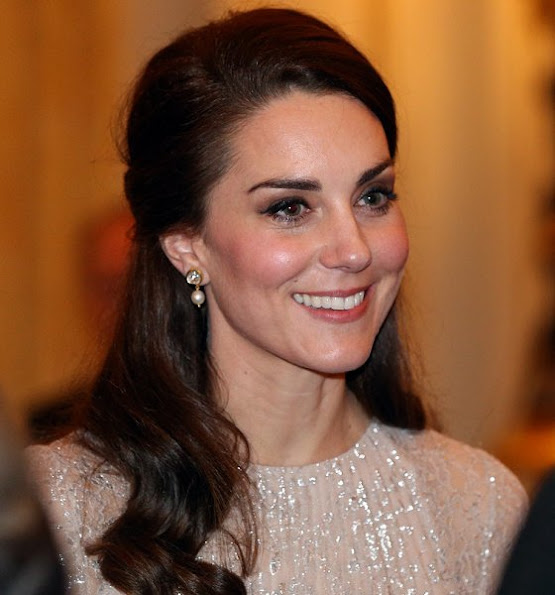 Kate Middleton, Duchess Catherine of of Cambridge wore Rhona Silver Dress, Mette-Marit wore same Erdem Dress