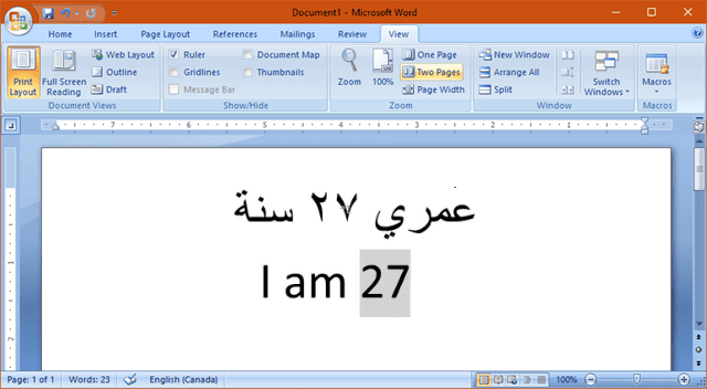 type arabic and english numbers in word page