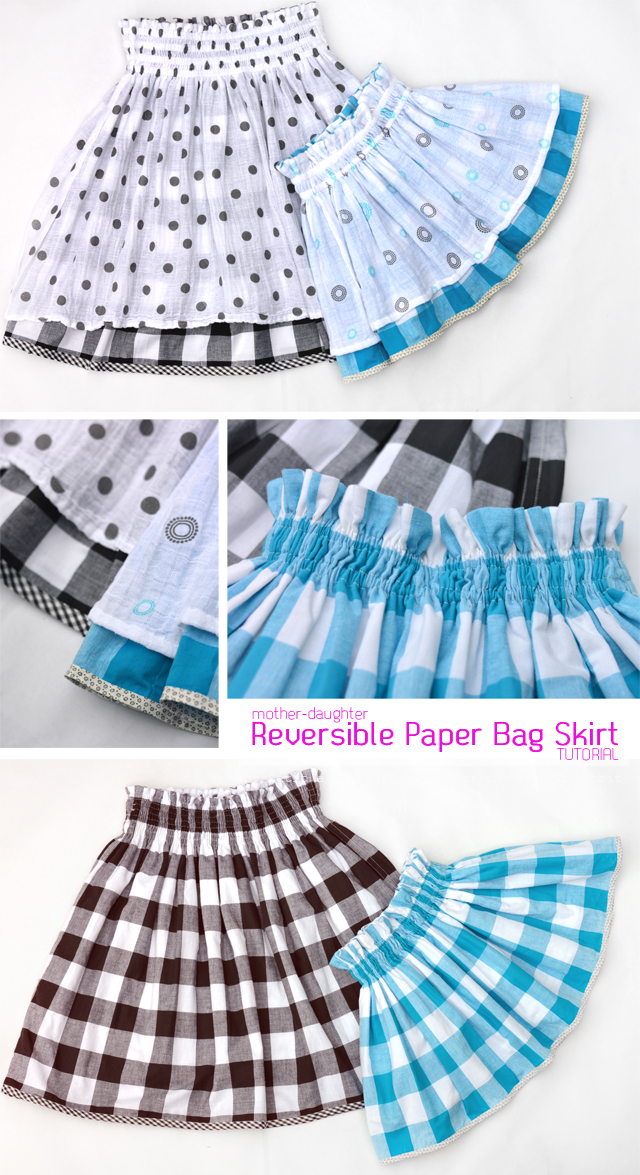 8c20dcc01814a Mother-Daughter Reversible Paper Bag Skirt DIY - The Sewing Rabbit