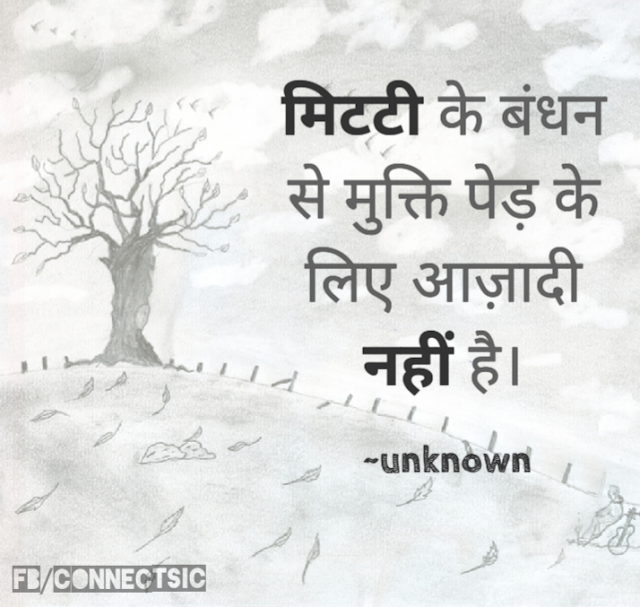 Hindi Quotes of Rabindranath Tagore for Emancipation, Tree, Bondage, Soil, मिटटी , बंधन