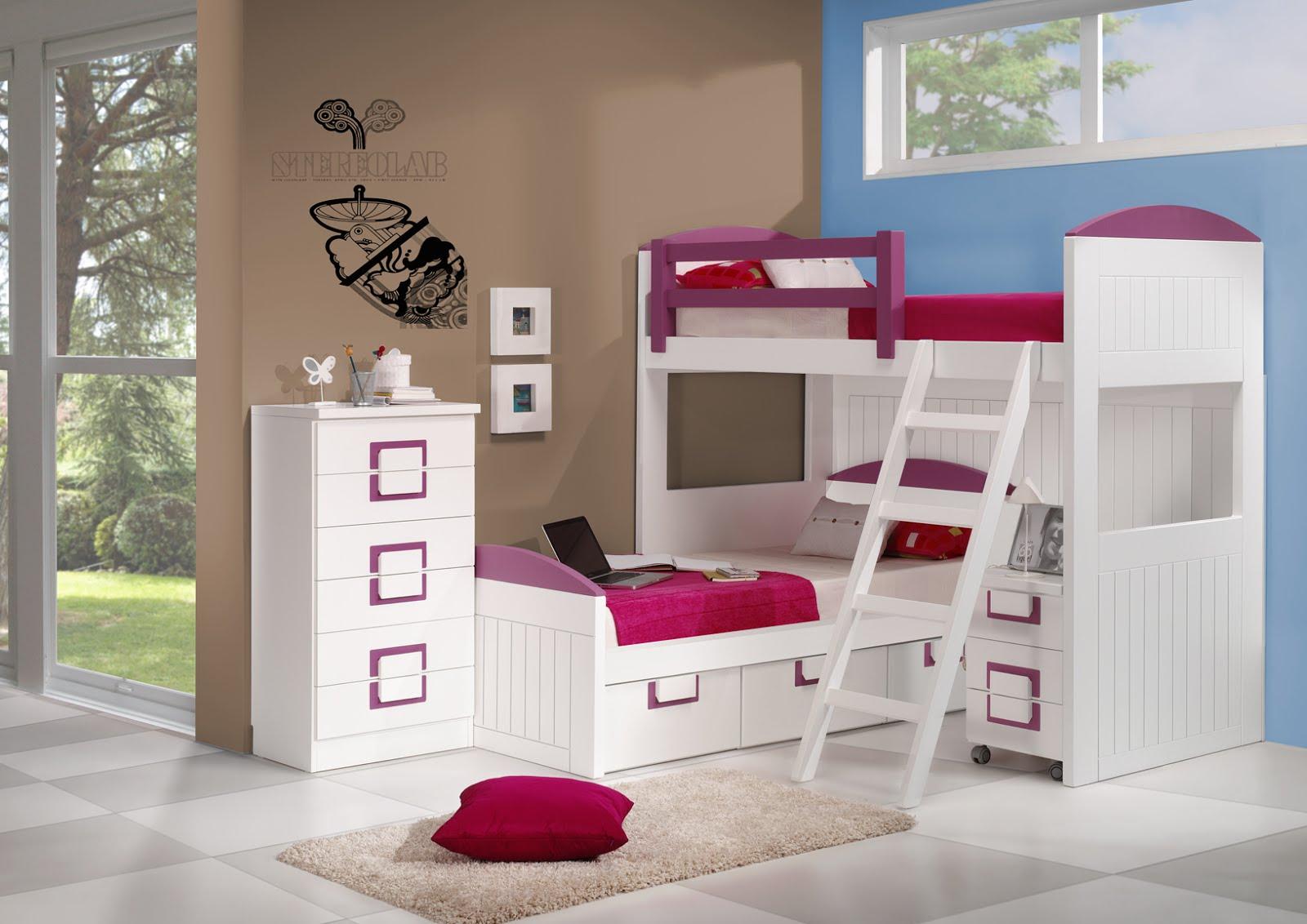 Litera cruzada con 2 camas y 3 cajones - Habitaciones juveniles 2 camas ...