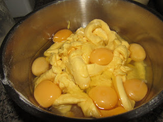 BUTTER, EGGS, FLOUR, BAKING INGREDIENTS IN A MIXING BOWL