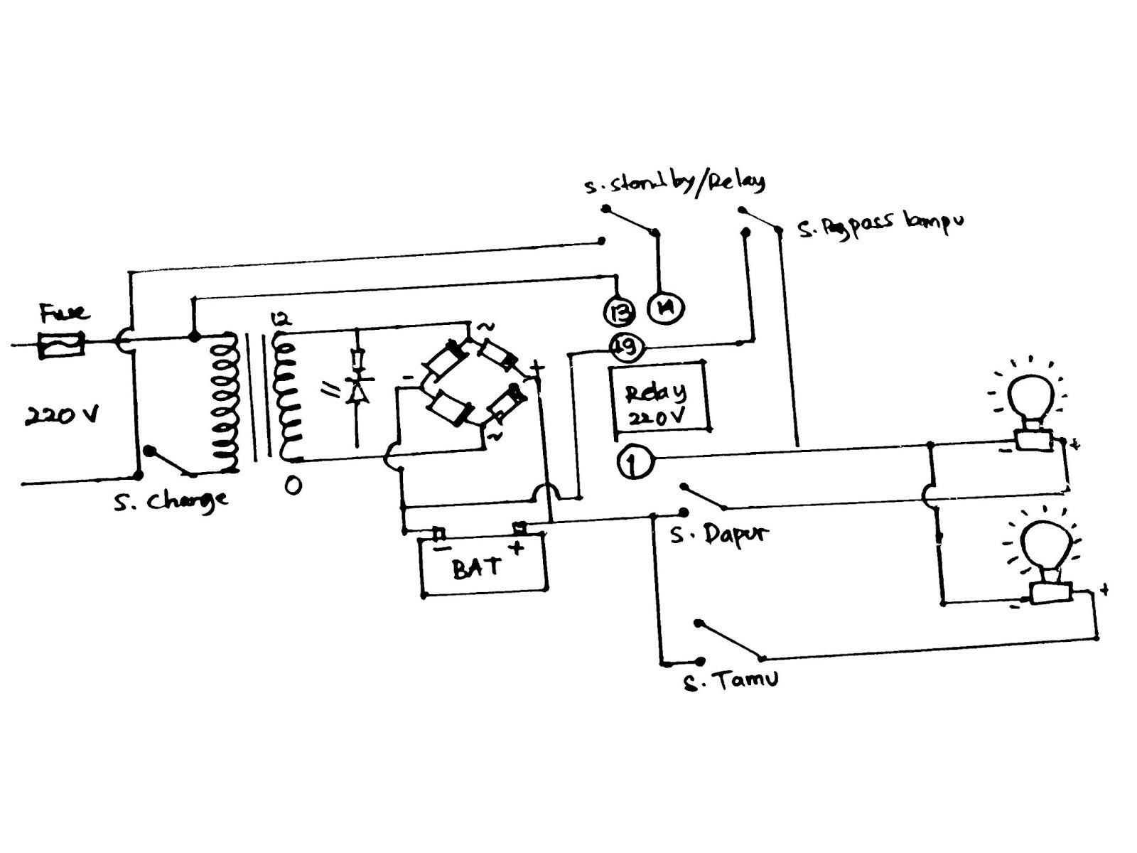 Rangkaian Lampu Emergency Menyala Otomatis Dengan