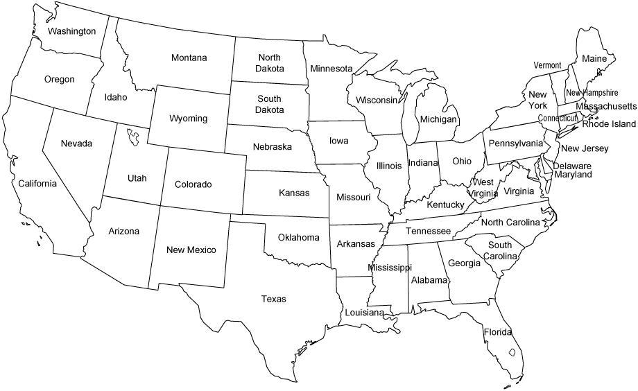 Printable Map Of The USA Mr Printables. Black And White Us ...